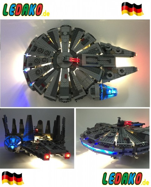 LED Set für Lego® Millenium Falcon 24 LED´s 75105, 7965 & 4504 updated Version